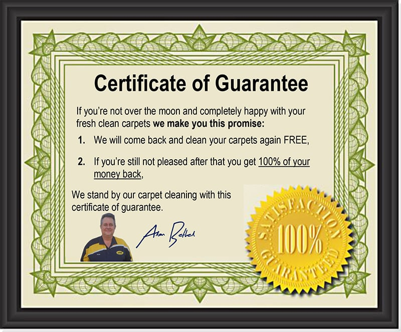 Certificate of guarantee from owner at Ultimate Restoration Services